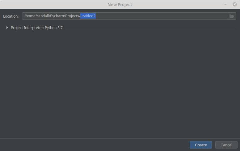 PyCharm - New Project Dialog